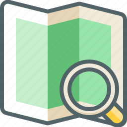 direction, find, location, magnifier, map, navigation, search icon