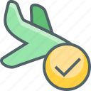 accept, airplane, check, flight, land, plane, success icon