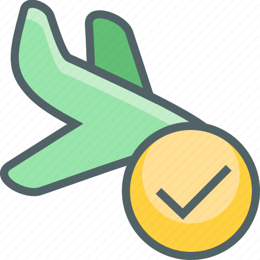 accept, airplane, check, flight, land, plane, success icon
