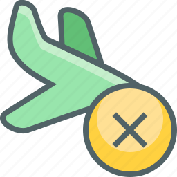 airplane, cancle, flight, land, plane, remove, travel icon