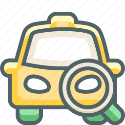 cab, car, find, magnifier, search, taxi, vehicle icon