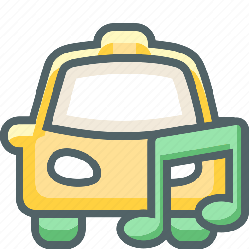 bar, cab, car, music, note, single, taxi icon