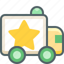achievement, bookmark, delivery, like, shipping, star, van icon