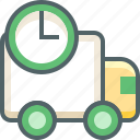 alarm, clock, delivery, shipping, time, timer, van icon