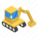 backhoe, heavy machinery, digger, construction crane, excavator, industrial crane icon