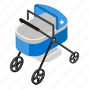 baby buggy, baby stroller, perambulator, pram, pushchair icon