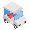 automotive vehicle, golf transport, golf truck, golf cart, golf buggy icon