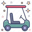 automotive vehicle, golf buggy, golf cart, golf truck, golf transport icon