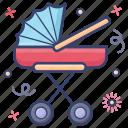 baby buggy, baby car, baby stroller, perambulator, pram, pushchair icon
