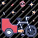 bike cart, tonga carriage, carriage, transport, cycle cart, bicycle trailer icon