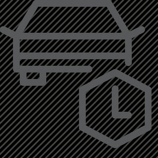 car, clock, park, time, transport, travel, vehicle icon