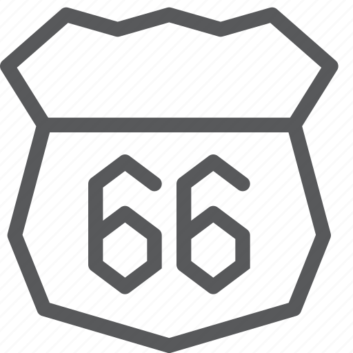 famous, road, route, sign, sixtysix, transport, travel, vehicle icon