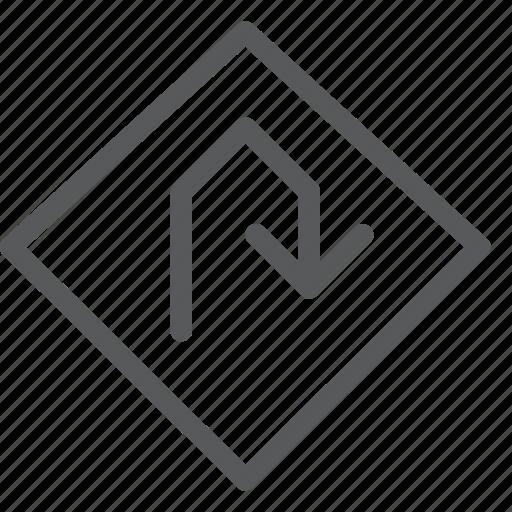 arrow, direction, sign, transport, travel, turn, u icon