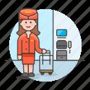 2, air, airplane, cabin, crew, female, flight, personnel, plane, transportation icon