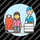 air, cabin, crew, flight, galley, male, personnel, stewardess, transportation, trolley icon