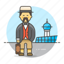3, air, airport, baggage, luggage, male, passenger, passengers, transportation, travel icon