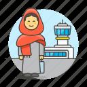 air, airport, baggage, female, luggage, passenger, passengers, transportation, travel icon