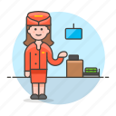 2, agent, airline, check, counter, crew, female, flight, in, personnel, transportation icon