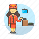 agent, airline, check, counter, crew, female, flight, in, personnel, transportation icon