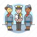 1, airplane, and, captain, crew, female, personnel, pilot, stewardess, transportation icon