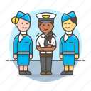 2, airplane, and, captain, crew, female, personnel, pilot, stewardess, transportation icon