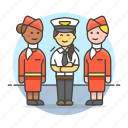 3, airplane, and, captain, crew, female, personnel, pilot, stewardess, transportation icon
