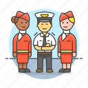 airplane, and, captain, crew, male, personnel, pilot, stewardess, transportation icon