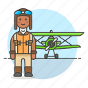 2, aircraft, and, aviation, aviator, man, pilot, pilots, plane, propeller, transportation icon