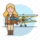 aircraft, and, aviation, aviator, pilot, pilots, plane, propeller, transportation, woman icon