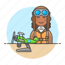 aircraft, aviation, aviator, female, pilot, pilots, plane, propeller, scale, transportation icon