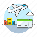 aircraft, airplane, airport, building, city, flight, plane, takeoff, ticket, transportation icon