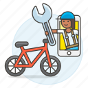 app, bicycle, bike, land, male, mechanic, phone, repair, road, service, transportation icon