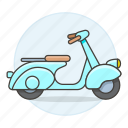 blue, land, light, motor, motorbike, motorcycle, road, scooter, transportation, vespa icon