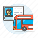 bus, commercial, details, driver, driving, female, info, license, permit, road, transportation icon