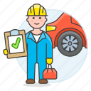 1, car, check, maintenance, male, mechanic, motor, repair, service, transportation icon