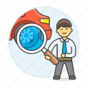 2, automotive, car, checking, man, mechanic, repair, service, technician, transportation icon