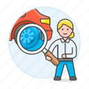 automotive, car, checking, mechanic, repair, service, technician, transportation, woman icon