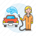 car, cleaning, female, hose, maintenance, service, transport, transportation, vehicle, wash icon
