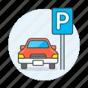 car, garage, lot, parking, road, sign, transportation, vehicle icon