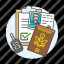 car, driving, form, key, license, male, passport, registration, retal, road, transportation, validation