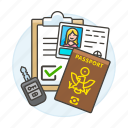 car, driving, female, form, key, license, passport, registration, retal, road, transportation, validation