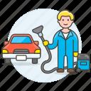 1, car, clean, cleaning, maintenance, man, service, transport, transportation, vacuum icon