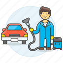 2, car, clean, cleaning, maintenance, man, service, transport, transportation, vacuum icon