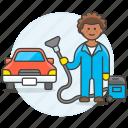3, car, clean, cleaning, maintenance, man, service, transport, transportation, vacuum icon