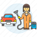 car, clean, cleaning, maintenance, service, transport, transportation, vacuum, woman icon