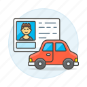 2, car, detailstransport, driver, driving, id, info, license, male, road, transportation icon