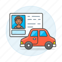 3, car, detailstransport, driver, driving, id, info, license, male, road, transportation icon