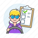 1, car, checklist, driver, driving, lessons, male, practice, steering, test, transportation icon
