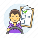 2, car, checklist, driver, driving, lessons, male, practice, steering, test, transportation icon