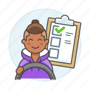 3, car, checklist, driver, driving, lessons, male, practice, steering, test, transportation icon